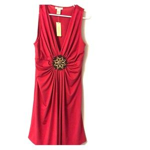 Dark Magenta Deep V Dress
